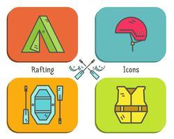 Icona piana dell'attrezzatura di rafting, raccolta del bottone. Stile all'aperto, design a colori vivaci. Elementi eleganti per il web, applicazioni mobili, banner, volantini, poster, brochure. Vettore