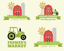 Set di modello di progettazione logo del mercato contadino. Prodotti biologici e naturali Tema ecologico Vettore