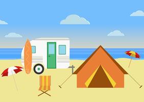 Retro illustrazione del caravan vettore