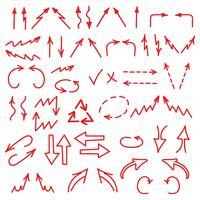 Le icone disegnate a mano delle frecce hanno messo isolato su fondo bianco. Diagrammi aziendali, grafici, infografica vettore