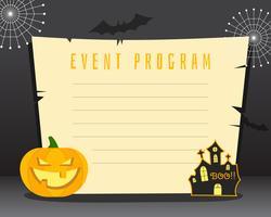 Sfondo di Halloween con posto per il testo. Felice halloween flyer card, poster. Design scuro con zucca, casa horror, web di pipistrelli e carta retrò. Vettore