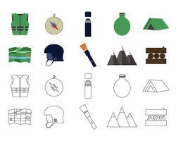 Set di icone di viaggio avventura piatta. Elementi di campeggio Linea piatta e sottile. Stile di attività all'aria aperta. Escursionismo, escursionismo e turismo di montagna. Vettore