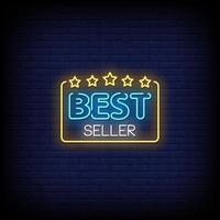vettore di testo in stile insegne al neon best seller