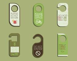 Azienda agricola biologica, negozio e altri prodotti ecologici Manopola per porta o set di appendini - non disturbare il design. Con modello di logo Eco e bio. Vettore