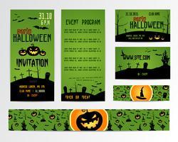 Set di Happy Halloween Greeting Cards, Flyer, banner. Illustrazione vettoriale Invito a una festa Design with Emblem. Modello tipografico. etichetta di Halloween Cover Design. Notte dell'orrore.