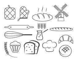 Set di icone di linea di panetteria ed elementi di design, simboli. Pane fresco, modelli di logo di dolci. Stile vintage monocromatico. Emblema Cupcake. Vettore