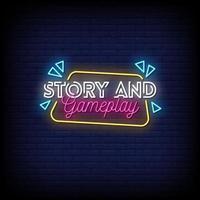 la storia e il gioco giocano al vettore di testo in stile insegne al neon
