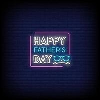 vettore del testo di stile delle insegne al neon di felice festa del papà