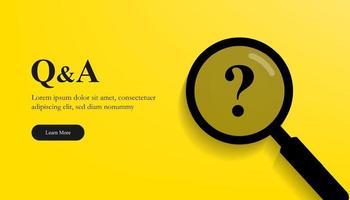 concetto di domanda e risposta con lente di ingrandimento e simbolo del punto interrogativo. vettore