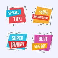 Offerte speciali etichette e banner vettore
