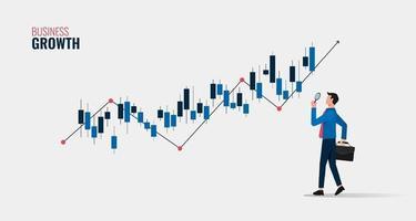 concetto di crescita aziendale con uomo d'affari che tiene la lente d'ingrandimento per analizzare l'illustrazione del simbolo del grafico. vettore