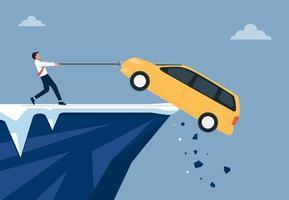 uomo d'affari cercando di salvare la sua illustrazione di auto. problemi finanziari di debito o prestito piatto vettoriale. vettore
