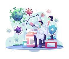 il dottore sta sparando con un'iniezione alla cellula di coronavirus covid-19. illustrazione di vettore di concetto di vaccinazione