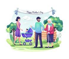 le persone celebrano la festa della mamma con i loro figli e la famiglia. illustrazione vettoriale