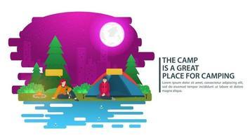 illustrazione del paesaggio notturno in stile cartone animato piatto due ragazze sedute vicino a una tenda foresta notte città luna sfondo per campo estivo turismo naturalistico campeggio o escursionismo concept design vettore