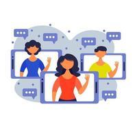 persone che chattano in messenger o social network. comunicazione Internet, messaggistica istantanea in linea o scambio di informazioni. illustrazione vettoriale in stile cartone animato piatto.
