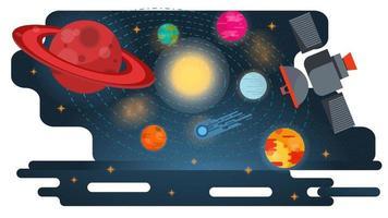 universo spaziale con pianeti in orbita e un'illustrazione piana di vettore di concetto di progetto di satellite artificiale volante
