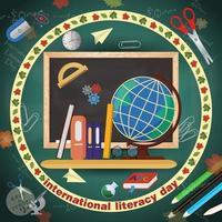 design a tema scolastico per la giornata internazionale dell'alfabetizzazione, ritorno a scuola, stile piatto vettore