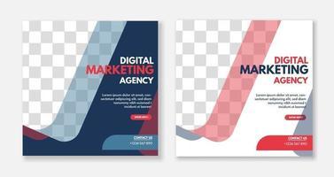 progettazione del modello di post dei social media dell'agenzia di business digitale creativa. promozione banner. pubblicità aziendale vettore