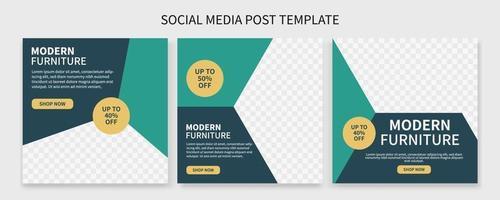 set di raccolta di modelli di post sui social media promozionali per la vendita di mobili premium creativi. meglio per la promozione in linea aziendale. pubblicità sul social web vettore