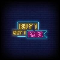 paghi uno prendi due vettore di testo in stile insegne al neon gratis