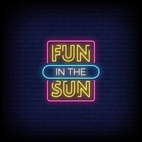 divertimento al sole insegne al neon stile testo vettoriale