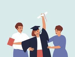 laureato in abito da laurea e berretto con il primo piano dei genitori vettore