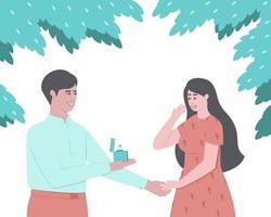 un uomo fa una proposta di matrimonio alla sua amata donna vettore