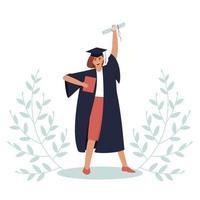 laureato con un diploma e una pergamena vettore