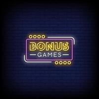 giochi bonus insegne al neon stile testo vettoriale