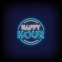 vettore del testo di stile delle insegne al neon di happy hour