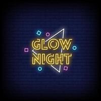 bagliore di notte insegne al neon stile testo vettoriale