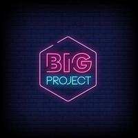 vettore di testo in stile insegne al neon di grande progetto
