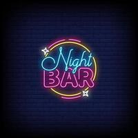 vettore del testo di stile delle insegne al neon della barra di notte