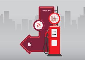 Segni automobilistici d'epoca. Retro segno automobilistico della pompa di gas d'annata.