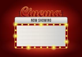 Segni del cinema vintage realistico. Segno illuminato Retro Vintage Cinema. Ora giocando segno. vettore