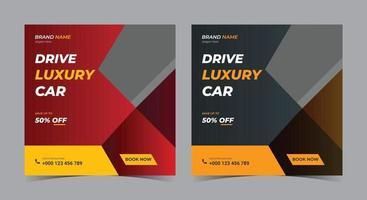 guidare i social media di auto di lusso, post sui social media di noleggio auto e volantino vettore