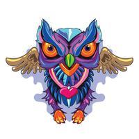 Illustrazione Owl Fulcolor New Skool Tatuaggi Concept vettore