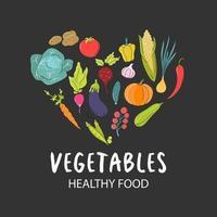 un insieme di verdure fresche disposte a forma di cuore su uno sfondo grigio scuro. cibo naturale, vegetarianismo. immagine piatta vettoriale, icona vettore