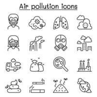 icona di inquinamento atmosferico impostato in stile linea sottile vettore