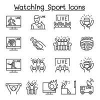 guardare lo sport in tv, icona di trasmissione sportiva impostata in stile linea sottile vettore