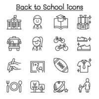 scuola, istruzione, apprendimento, torna a scuola set di icone in stile linea sottile vettore