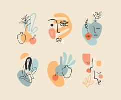 insieme di composizioni contemporanee. Linea artistica. moderno design vettoriale per logo, branding, t-shirt, poster, cartoline e altro ancora