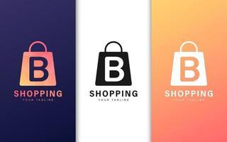 lettera b logo in una borsa della spesa con un concetto moderno vettore