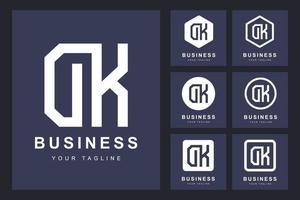 dk minimalista, set di logo della lettera dk vettore