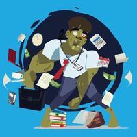 uomo d'affari come zombie. poster di uomo d'affari occupato e lavorando duro - illustrazione vettoriale