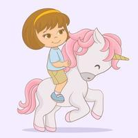 ragazza cavalcando il suo simpatico unicorno vettore