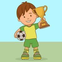 ragazzo con un pallone da calcio e una coppa del vincitore vettore
