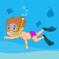bambino che nuota con boccaglio vettore