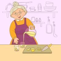 nonna che prepara una deliziosa limonata vettore